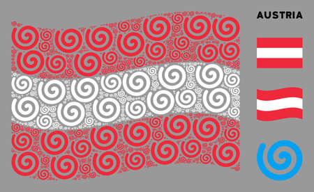 Waving Austria state flag. Vector spiral elements are arranged into conceptual Austria flag abstraction. Patriotic illustration created of flat spiral design elements.