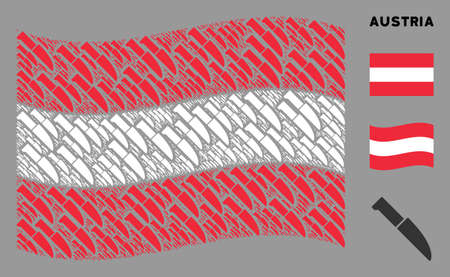 Waving Austrian state flag. Vector surgery knife pictograms are placed into conceptual Austria flag composition. Patriotic composition done of flat surgery knife pictograms.