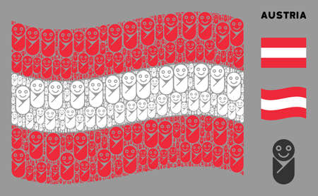 Waving Austria state flag. Vector newborn icons are placed into conceptual Austria flag collage. Patriotic collage created of flat newborn icons.
