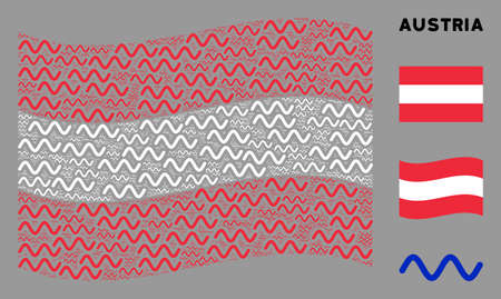 Waving Austrian flag. Vector sinusoid wave design elements are formed into geometric Austrian flag illustration. Patriotic concept designed of flat sinusoid wave design elements.