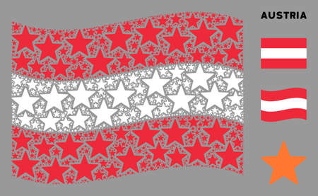 Waving Austrian official flag. Vector fireworks star items are scattered into mosaic Austrian flag collage. Patriotic collage organized of flat fireworks star pictograms.