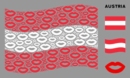 Waving Austrian official flag. Vector sexy lips elements are scattered into conceptual Austrian flag composition. Patriotic composition organized of flat sexy lips elements.