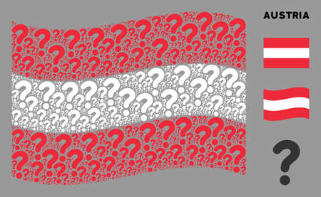 Waving Austria state flag. Vector question design elements are scattered into geometric Austrian flag composition. Patriotic composition created of flat question design elements.