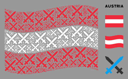Waving Austrian flag. Vector crossing swords pictograms are placed into mosaic Austrian flag collage. Patriotic collage composed of flat crossing swords pictograms.