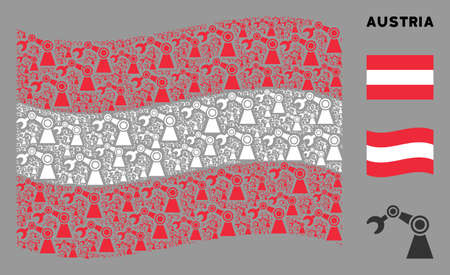 Waving Austria flag. Vector industrial robot design elements are arranged into mosaic Austria flag composition. Patriotic concept combined of flat industrial robot icons.