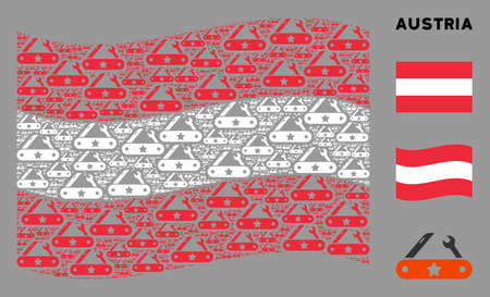 Waving Austria state flag. Vector universal multitool knife items are combined into conceptual Austria flag abstraction. Patriotic illustration combined of flat universal multitool knife pictograms. Illusztráció