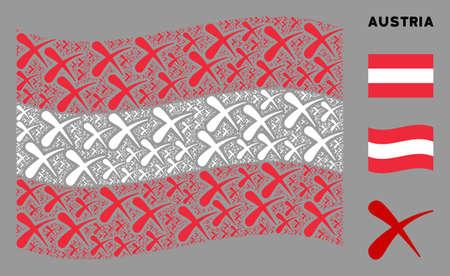 Waving Austria state flag. Vector erase design elements are scattered into mosaic Austria flag illustration. Patriotic illustration constructed of flat erase design elements. Illustration