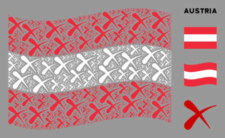 Waving Austria state flag. Vector erase design elements are scattered into mosaic Austria flag illustration. Patriotic illustration constructed of flat erase design elements. Illusztráció