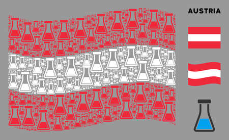 Waving Austrian state flag. Vector flask icons are arranged into conceptual Austria flag collage. Patriotic collage combined of flat flask icons.