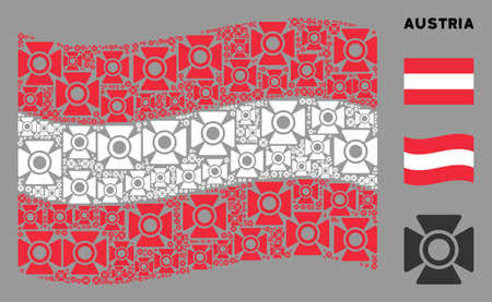 Waving Austria flag. Vector searchlight icons are grouped into conceptual Austria flag collage. Patriotic illustration combined of flat searchlight icons.