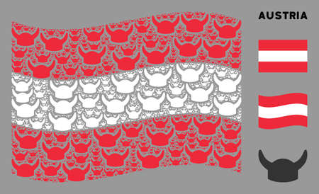 Waving Austria state flag. Vector horned helmet design elements are organized into mosaic Austria flag composition. Patriotic collage organized of flat horned helmet pictograms.