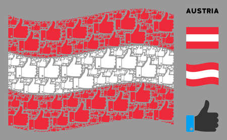 Waving Austria state flag. Vector thumb up design elements are combined into conceptual Austria flag composition. Patriotic collage combined of flat thumb up icons. Çizim