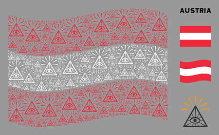 Waving Austria state flag. Vector total control eye pyramid pictograms are grouped into geometric Austria flag illustration. Patriotic illustration created of flat total control eye pyramid elements. Stockfoto - 132107462