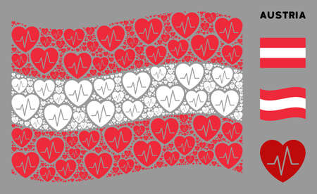 Waving Austria official flag. Vector cardiology pictograms are grouped into mosaic Austria flag collage. Patriotic concept done of flat cardiology pictograms.