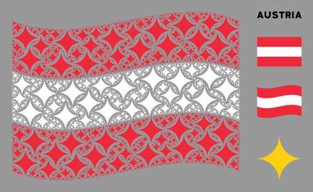 Waving Austria official flag. Vector sparkle star design elements are united into mosaic Austria flag illustration. Patriotic concept done of flat sparkle star elements.