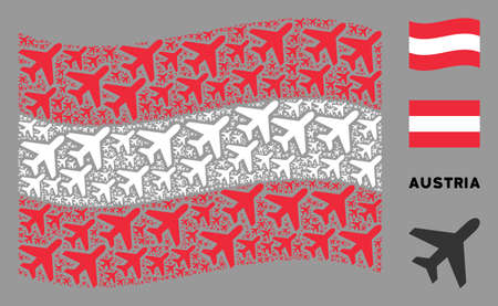 Waving Austria state flag. Vector air plane pictograms are organized into conceptual Austria flag collage. Patriotic collage organized of flat air plane elements.