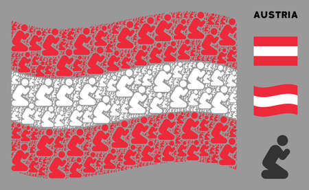 Waving Austrian state flag. Vector praying person design elements are combined into mosaic Austrian flag illustration. Patriotic concept combined of flat praying person design elements. Ilustração