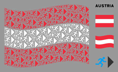 Waving Austrian state flag. Vector exit direction elements are scattered into mosaic Austria flag composition. Patriotic composition designed of flat exit direction elements. Stock Illustratie