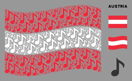 Waving Austria official flag. Vector musical note icons are grouped into mosaic Austrian flag illustration. Patriotic illustration done of flat musical note icons. Banco de Imagens - 132119847