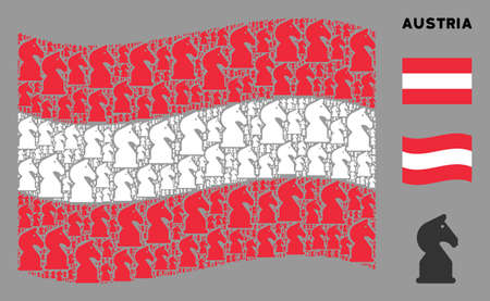 Waving Austrian state flag. Vector chess horse design elements are united into mosaic Austrian flag collage. Patriotic composition composed of flat chess horse elements.  イラスト・ベクター素材
