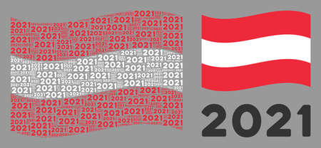 Waving Austrian state flag. Vector 2021 year text design elements are formed into mosaic Austrian flag composition. Patriotic collage composed of flat 2021 year text design elements.