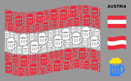 Waving Austria state flag. Vector beer glass design elements are grouped into geometric Austria flag composition. Patriotic collage constructed of flat beer glass design elements.