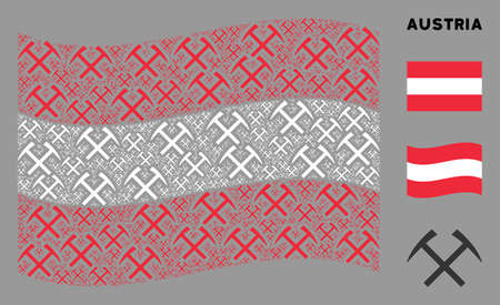 Waving Austria state flag. Vector mining hammers design elements are formed into geometric Austria flag collage. Patriotic composition created of flat mining hammers design elements.