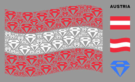 Waving Austrian official flag. Vector diamond design elements are grouped into geometric Austria flag illustration. Patriotic concept done of flat diamond design elements.