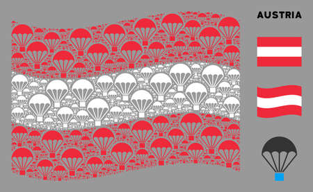 Waving Austria state flag. Vector parachute elements are arranged into geometric Austria flag collage. Patriotic collage done of flat parachute pictograms.