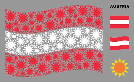 Waving Austrian official flag. Vector sun design elements are scattered into conceptual Austria flag illustration. Patriotic illustration composed of flat sun design elements.