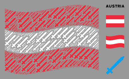 Waving Austria official flag. Vector sword icons are grouped into mosaic Austria flag illustration. Patriotic illustration composed of flat sword icons.