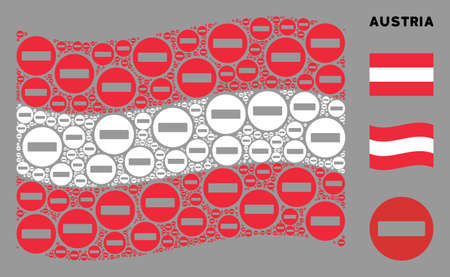 Waving Austria state flag. Vector forbidden access elements are formed into geometric Austria flag illustration. Patriotic illustration organized of flat forbidden access elements. Banco de Imagens - 132110832