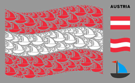 Waving Austrian official flag. Vector yacht elements are formed into mosaic Austrian flag composition. Patriotic composition done of flat yacht elements.