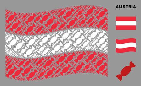 Waving Austrian official flag. Vector candy design elements are arranged into conceptual Austrian flag illustration. Patriotic composition constructed of flat candy design elements.