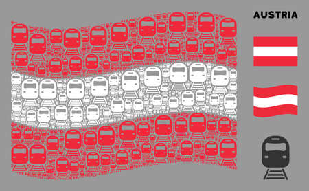 Waving Austrian official flag. Vector train design elements are scattered into mosaic Austrian flag illustration. Patriotic collage constructed of flat train design elements.