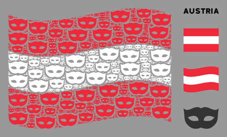 Waving Austria state flag. Vector privacy mask elements are combined into conceptual Austria flag illustration. Patriotic composition combined of flat privacy mask elements. Ilustração
