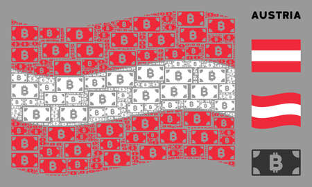 Waving Austrian official flag. Vector Bitcoin cash banknote design elements are united into conceptual Austrian flag illustration.