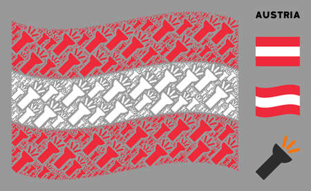 Waving Austria flag. Vector electric torch light elements are united into mosaic Austria flag composition. Patriotic composition designed of flat electric torch light elements.