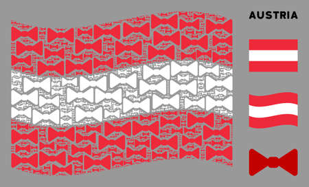 Waving Austrian official flag. Vector bow tie elements are scattered into conceptual Austrian flag collage. Patriotic concept combined of flat bow tie design elements.