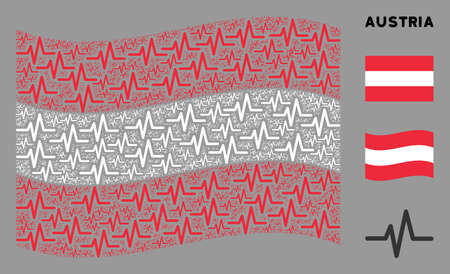 Waving Austrian flag. Vector pulse elements are formed into conceptual Austrian flag composition. Patriotic composition composed of flat pulse design elements. 版權商用圖片 - 132120005