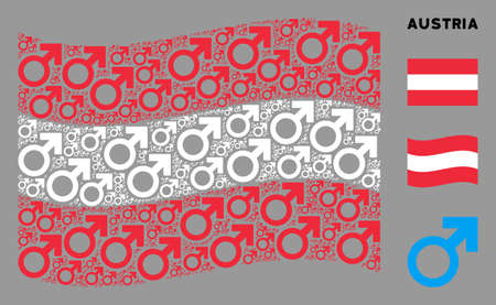 Waving Austria state flag. Vector Mars symbol elements are scattered into geometric Austria flag abstraction. Patriotic collage created of flat Mars symbol design elements. Иллюстрация