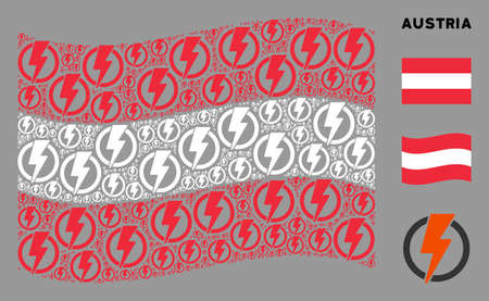 Waving Austrian flag. Vector electricity icons are arranged into conceptual Austrian flag abstraction. Patriotic composition combined of flat electricity icons.