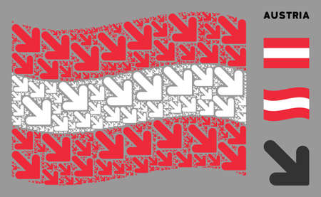 Waving Austria official flag. Vector arrow down right design elements are combined into mosaic Austria flag abstraction. Patriotic collage constructed of flat arrow down right design elements.
