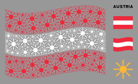 Waving Austria official flag. Vector sun elements are scattered into mosaic Austria flag collage. Patriotic collage done of flat sun elements.