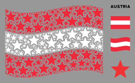 Waving Austria official flag. Vector fireworks star design elements are placed into geometric Austria flag composition. Patriotic concept designed of flat fireworks star design elements.