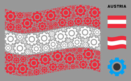 Waving Austrian official flag. Vector gear design elements are united into geometric Austrian flag collage. Patriotic composition combined of flat gear design elements.