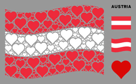 Waving Austrian official flag. Vector valentine heart design elements are formed into mosaic Austria flag illustration. Patriotic illustration created of flat valentine heart design elements.