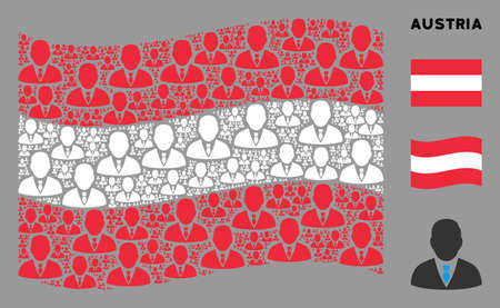 Waving Austrian state flag. Vector manager elements are arranged into mosaic Austrian flag collage. Patriotic collage done of flat manager pictograms.