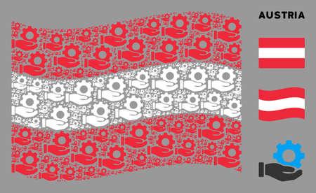 Waving Austrian state flag. Vector mechanic gear service hand design elements are placed into mosaic Austrian flag illustration. Иллюстрация