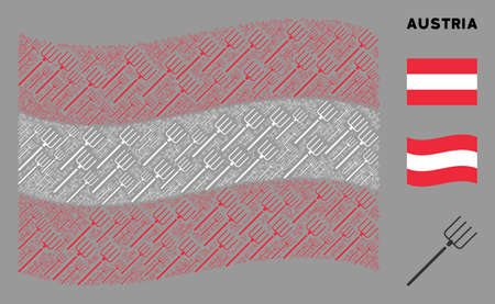 Waving Austrian official flag. Vector pitchfork icons are combined into geometric Austrian flag collage. Patriotic collage constructed of flat pitchfork elements.